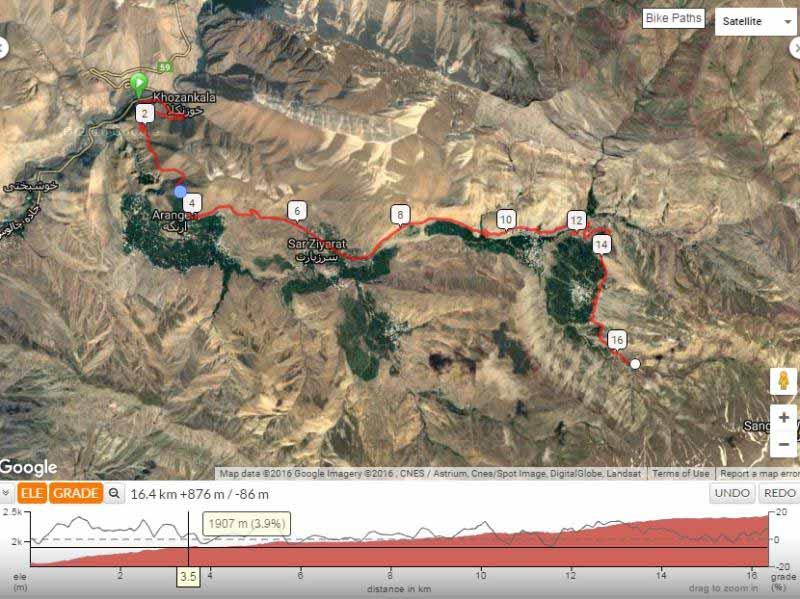 پروفیل مسیر آبشار خور . شیب حداکثر 13 درصد در ابتدا و انتهای مسیر . تصویر ماهواره ای سرسبزی دره کنار مسیر را کامل نشان می دهد .