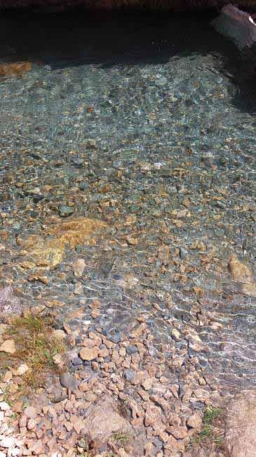 آب رودخانه زلال و تمیز است.