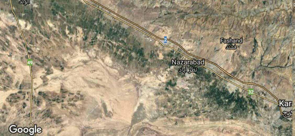 نقشه ماهواره ای از منطقه - امتداد دشت سبز در میان کرج تا قزوین در منطقه پایین اتوبان کاملا مشخص است .